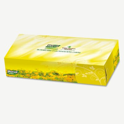 Marcal Paper Mills, Inc. Pro 100% Premium Recycled Facial 2-Ply Tissues - 100 Tissues per Box / 30 Boxes