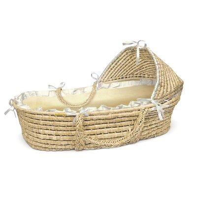 Badger Basket Hooded Moses Basket with Gingham Bedding Badger Basket