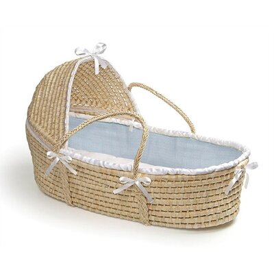Badger Basket Hooded Moses Basket with Waffle Bedding Badger Basket