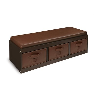 Badger Basket Kid's Storage Bench with Cushion and Three Bins 90900