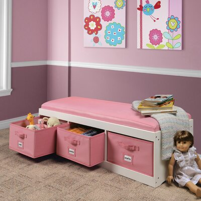 Kid's Storage Bench with Cushion and Three Bins by Badger Basket