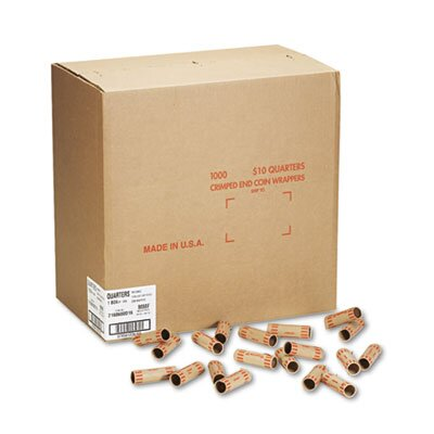 MMF Industries Preformed Tubular Coin Wrappers, Quarters, $10, 1,000 Wrappers per Box