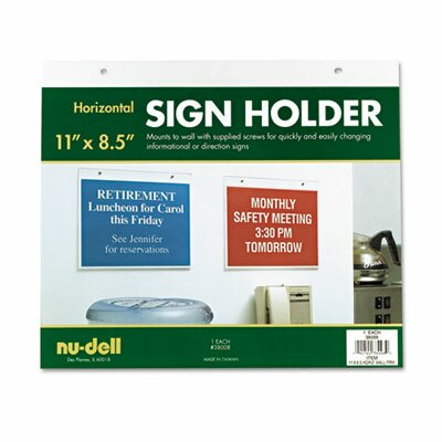 Horizontal Wall Sign Holder, Acrylic, 11 x 8-1/2 by Nu-Dell