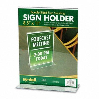 T-Frame Base Desktop Sign Holder, Acrylic, 8-1/2 x 11 by Nu-Dell