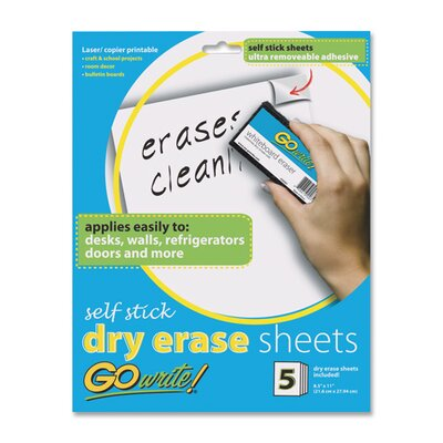 """Pacon Corporation Dry-Erase Sheets, Adhesive, 8-1/2""""x11"""", 5 Sheets per Pack, White"""