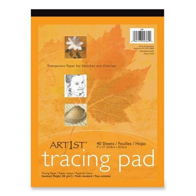 """Pacon Corporation Tracing Pad,F/Sketches and Overlays,9""""x12"""",40 Sheets, White"""