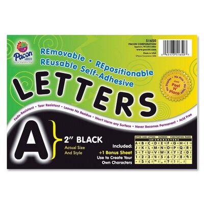 Pacon Corporation Self-Adhesive Letters, 159 Characters, Black