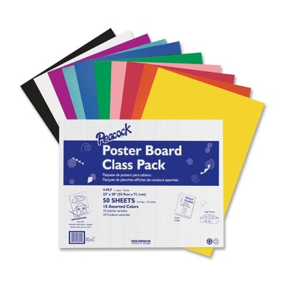 "Pacon Corporation Posterboard, 4-Ply, 22""x28"", 5 ea 10 Colors, 50 Sheets, Assorted"