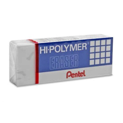 Pentel of America, Ltd. Super Hi-Polymer Eraser, Small, Nonabrasive, White