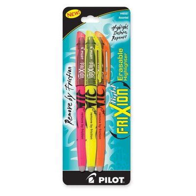 Pilot Pen Corporation of America Erasable Highlighter, Chisel Point, 3/PK, Assorted