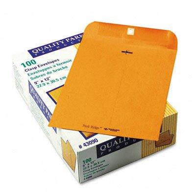 Quality Park Products Park Ridge Kraft Clasp Envelope, 9 x 12, Light Brown, 100/box