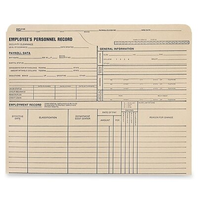 """Quality Park Products Personnel Record Jacket, 1-1/2"""" Exp, 9-1/2""""x11-3/4"""", 25/BX"""