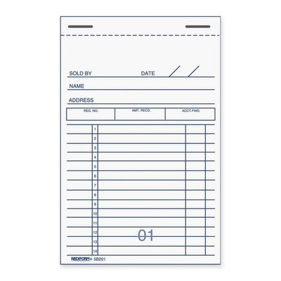"""Rediform Office Products Forms Book, Numbered Bottom, 50 Duplicates, 3-3/8""""x5"""""""