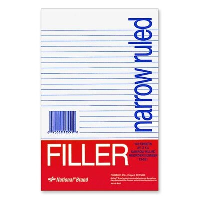 "Rediform Office Products Filler Paper, Narrow Rule, 8-1/2""x5-1/2"", 100 Shper Pack, White"