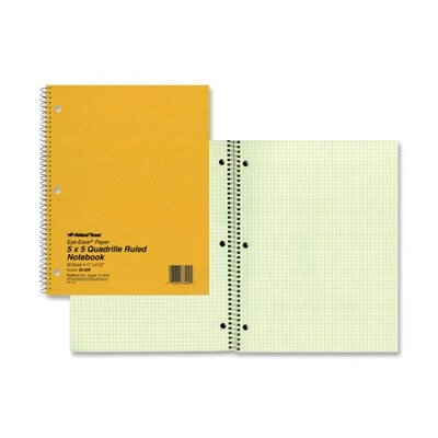 """Rediform Office Products Wirebound Notebook, 5""""x5"""" Quad, 11""""x8-1/2"""", 80 Pages, Green"""