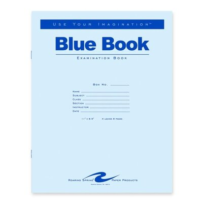 """Roaring Spring Paper Products Exam Book, Wide Ruled, 4 Shts, 11""""x8-1/2"""", 100/PK, Blue"""