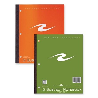 """Roaring Spring Paper Products Notebook, 3-Hole Punch, CR, Perforated, 132 Sheets, 11""""x9"""", Assorted Cover."""