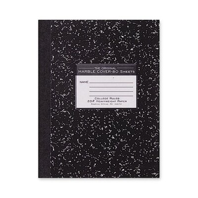 """Roaring Spring Paper Products Composition Book, 20lb., College Ruled, 10-1/4""""x7-3/4"""", 80 Sheets, Black"""