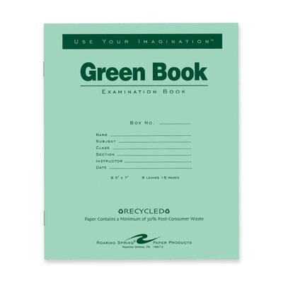"""Roaring Spring Paper Products Exam Book, Wide Ruled, 8 Sh/16 Pages, 8-1/2""""x7"""", 50 per Pack, Green"""