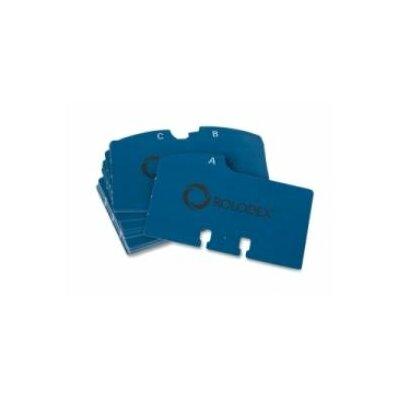 "Rolodex Corporation A-Z File Guides, For V-File Jr., 2-1/4""x4"", White/Blue Tab"