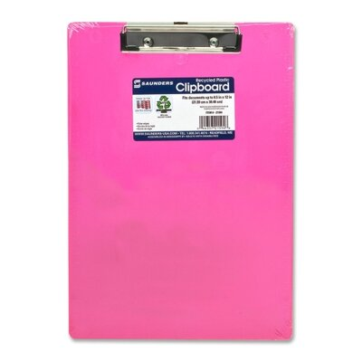 """Saunders Manufacturing Plastic Clipboard, Letter, Holds 1/2"""" of Paper, Neon Pink"""