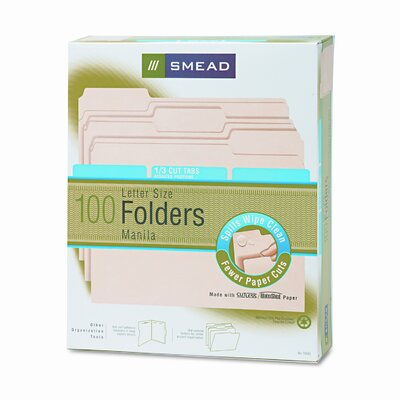 Smead Manufacturing Company Watershed/Cutless File Folders, 1/3 Cut Top Tab, 100/Box