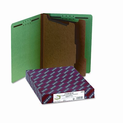 Smead Manufacturing Company Pressboard End Tab Classification Folders, Ltr, 6-Section, Green, 10/bx