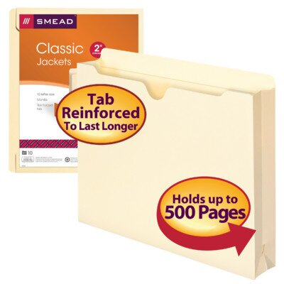 """Smead Manufacturing Company File Jackets,11 Pt.,2"""" Exp.,Letter,Straight Cut,10/PK,Manila"""