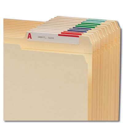 "Smead Manufacturing Company Top-Tab Folder Labels, A-Z, 3-7/16""x9/16"", 568 per Pack, Assorted"
