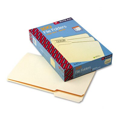 Smead Manufacturing Company 1/3 Cut First Position One-Ply Top Tab File Folders, 100/Box