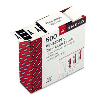 Smead Manufacturing Company A-Z Color-Coded Bar-Style End Tab Labels, Letter Y, Violet, 500/Roll