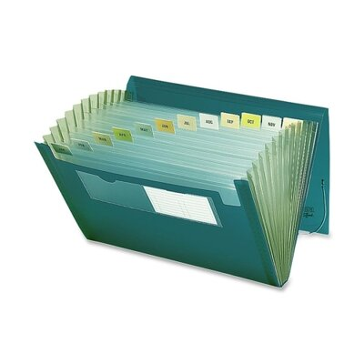 """Smead Manufacturing Company Expanding Pocket, 12 Pocket, 7/8"""" Exp, 13""""x9-1/4"""", Green"""