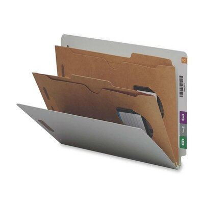 Smead Manufacturing Company Six-Section Pressboard Classification End Tab Folder, Pockets, 10/Box