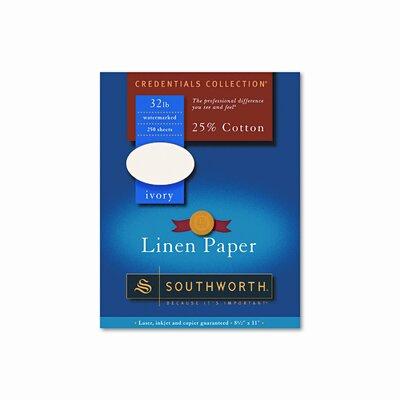 Southworth Company Credentials Collection Fine Linen Paper, White, Letter, 250 Sheets per Box