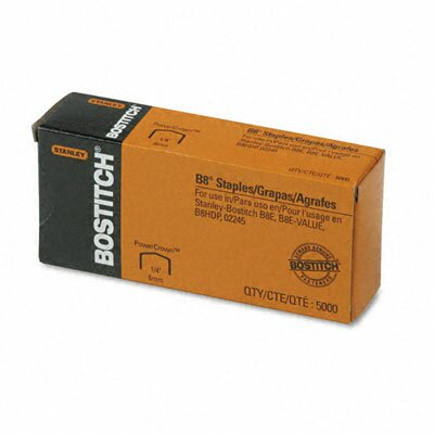 Stanley Bostitch Full Strip B8 Staples, 5,000/Box