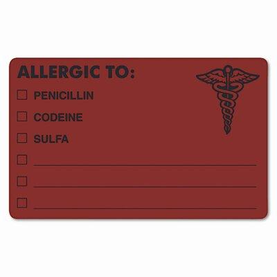 Tabbies Drug Allergy Medical Warning Labels, 100/Roll