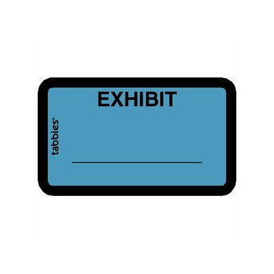 "Tabbies Legal Exhibit Labels, ""Exhibit"", 1-5/8""x1"", 252 per Pack, Yellow"