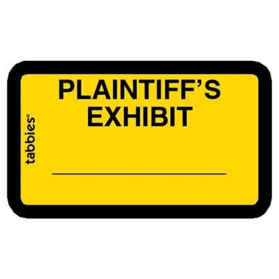 "Tabbies Legal Exhibit Labels, ""Plaintiff's"", 1-5/8""x1"",252/PK,Yellow"
