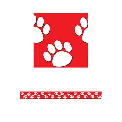 Teacher Created Resources Red With White Paw Prints Straight Classroom Border