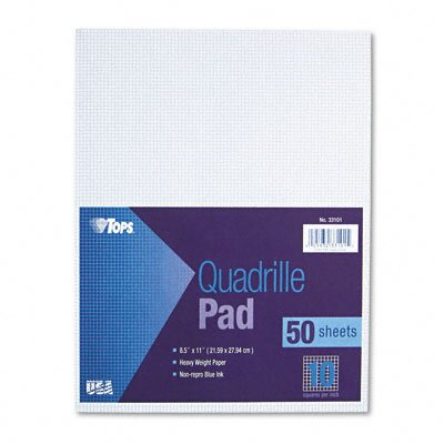 Tops Business Forms Quadrille Pads, 10 Squares/Inch, 50 Sheets / Pad