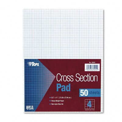 Tops Business Forms Section Pads, 4 Squares, Quadrille Rule, Letter, 50 Sheets / Pad