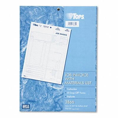 Tops Business Forms Snap-Off Job Invoice Form, Three-Part Carbonless, 50 Forms