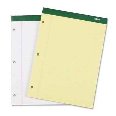 """Tops Business Forms Legal Pad,Perf.,Legal Rule,3HP,100 Sh,8-1/2""""x1-3/4"""",3/PK,CY"""