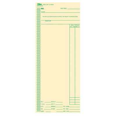 """Tops Business Forms Time Cards, Full-Day Calculations, 100 per Pack, 3-3/8""""x8-1/4"""""""