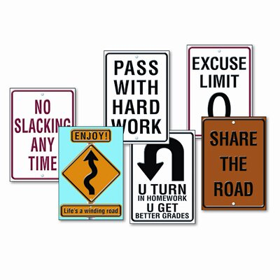 "Trend Enterprises Set of 6 Assorted ""Life Signs"" Themed Motivational Prints"