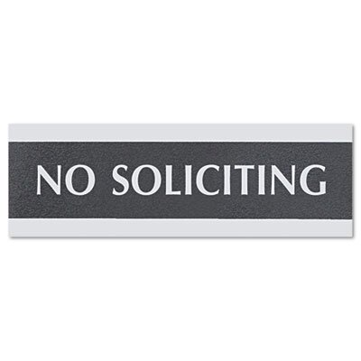 """U.S. Stamp & Sign Century Series """"No Soliciting"""" Sign, 8w x 1/2d x 2h, Black/Silver"""