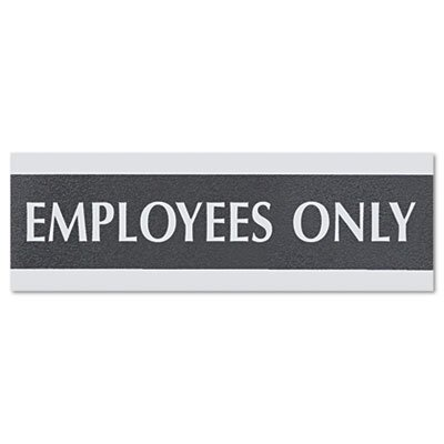 "U.S. Stamp & Sign Century Series ""Employees Only"" Sign, 9w x 1/2d x 3h, Black/Silver"