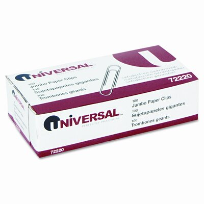 Universal® Smooth Paper Clips, 100/Box