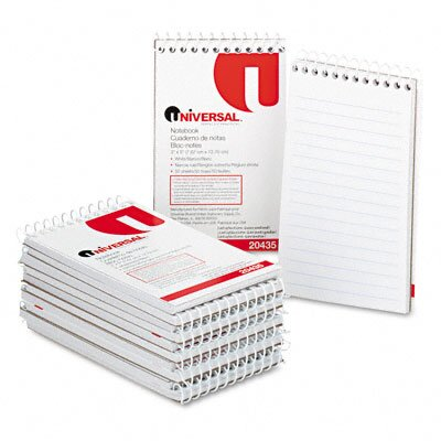 Universal® Wirebound Memo Books, Narrow Rule, 3 x 5, White, 12 50-Sheet Pads/pack