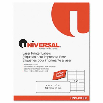 Universal® Laser Printer Permanent Labels, 3500/Box